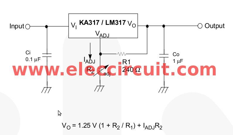 Lm317 Voltage Regulator Pinout Calculator And Circuits Voltage Regulator Automatic Battery Charger Calculator