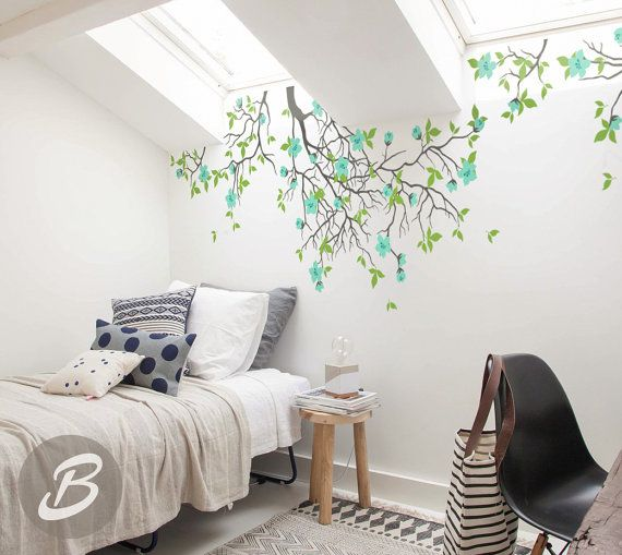 Hanging tree branches Wall Decal for Baby Girl Nursery with Flowers White Tree Branch Wall Decals AM013