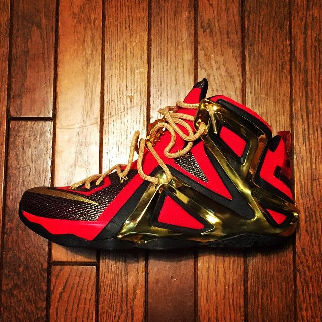 save off fc54b 09650 NIKEiD LeBron XII 12 Elite Black Red-Gold