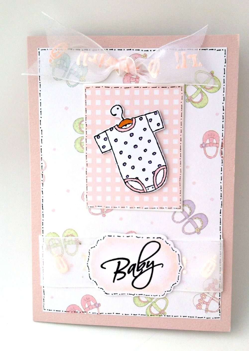 Baby girl card stampin up baby stamp hero arts