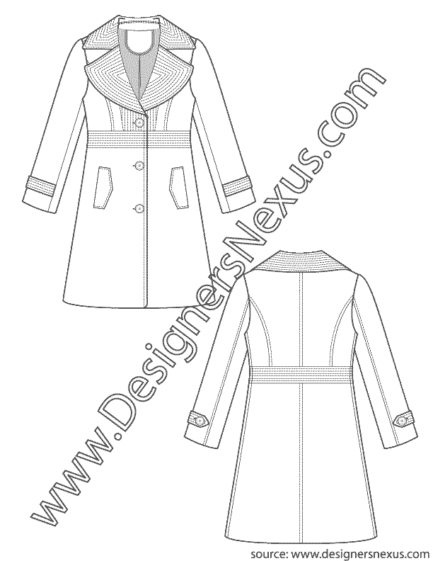 Trench Coat V4 Flat Sketch With Exaggerated Notch Collar And