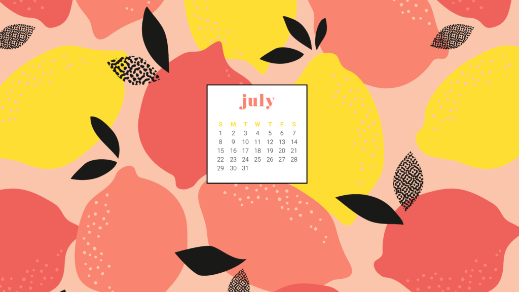 Download your summery and FREE July 2018 calendar