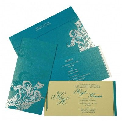 Cyan Blue Shimmery Floral Themed Screen Printed Wedding Card D 8259b 123weddingcards Screen Printed Wedding Invitations Wedding Cards Wedding Card Design