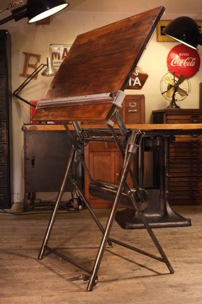 table a dessin ancienne darnay meubles industriels. Black Bedroom Furniture Sets. Home Design Ideas