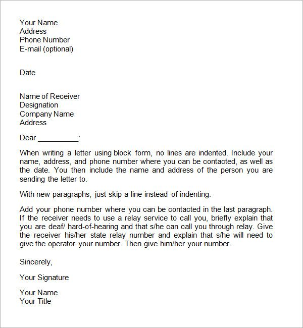 sample of a formal business letter