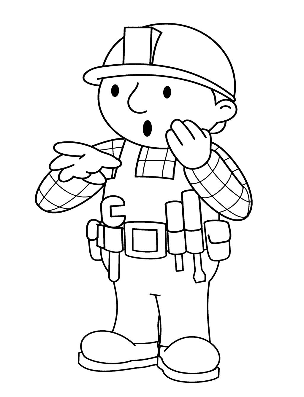 Bob The Builder Shocked Coloring Page For Kids