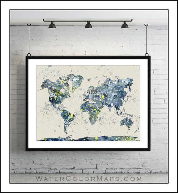 Watercolor map of the world Map of the World by WaterColorMaps, $22.50