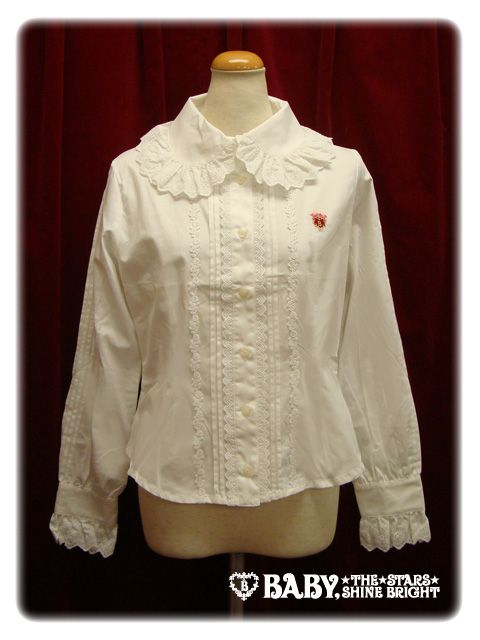 Baby, the stars shine bright BABY round collar blouse(pin tucked sleeves)