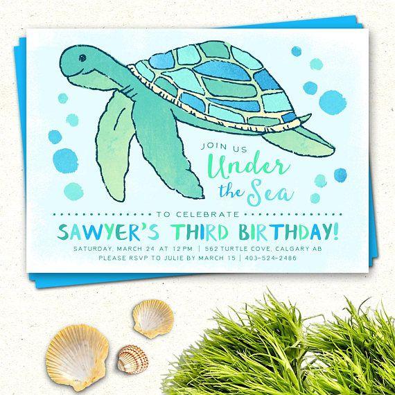 Under the sea invitations turtle birthday invitation sea turtle under the sea invitations turtle birthday invitation sea filmwisefo