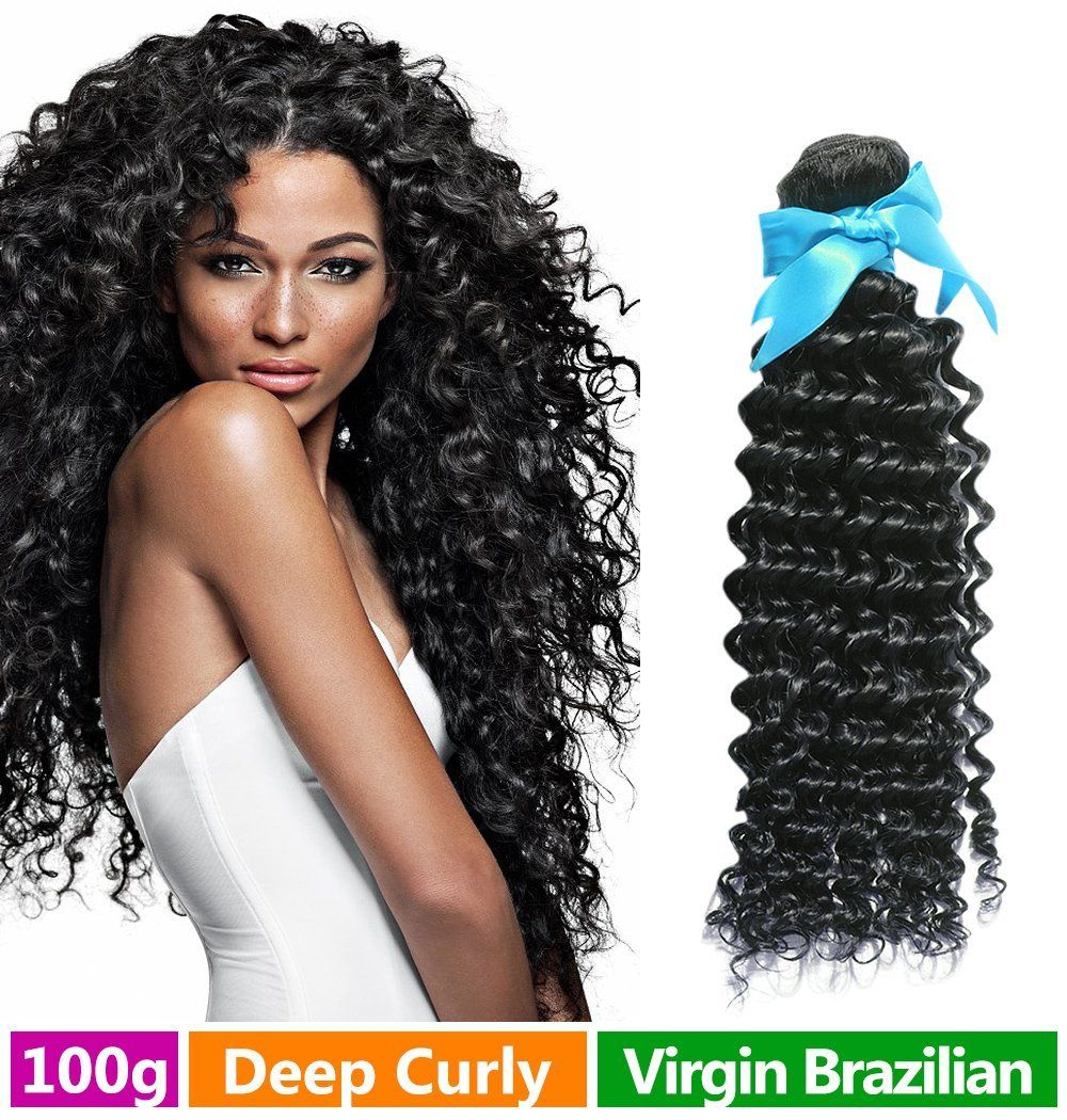Rechoo Brazilian Virgin Remy Human Hair Extension Weave 100g - Natural Black,14',Deep Curly *** Be sure to check out this awesome product.