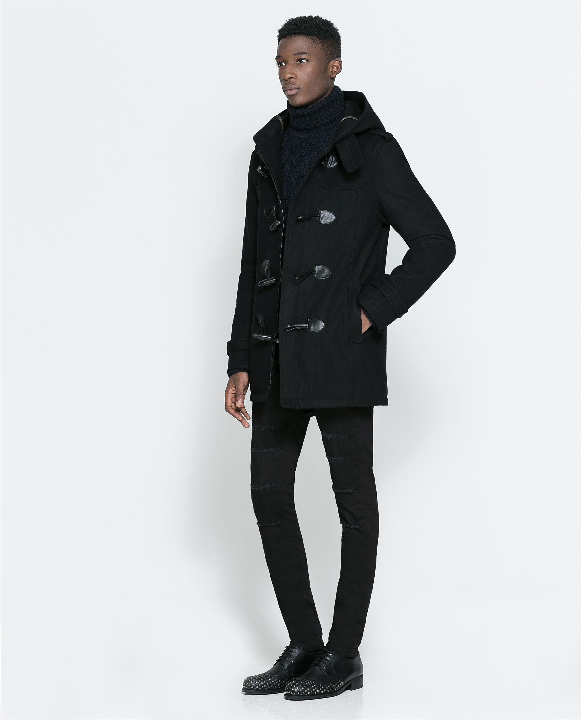 Zara BASIC BLACK DUFFLE COAT Ref. 6593/362 179.00 CAD OUTER SHELL ...