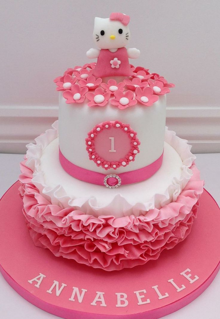Terrific Hello Kitty 1St Birthday Cake With Images Hello Kitty Birthday Personalised Birthday Cards Veneteletsinfo