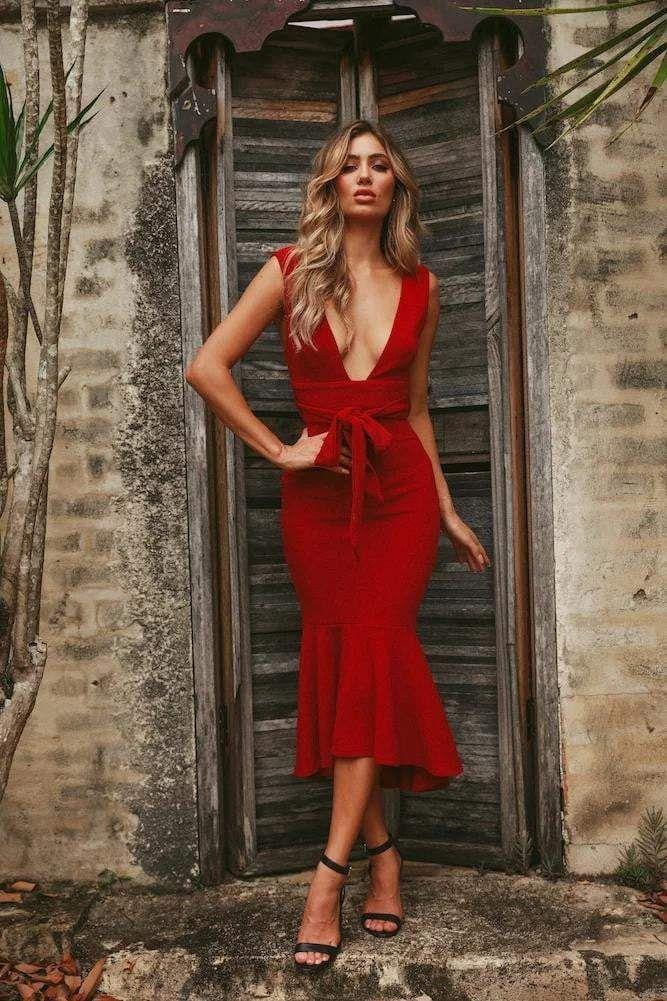 Andora V-Neck Bodycon Midi Dress