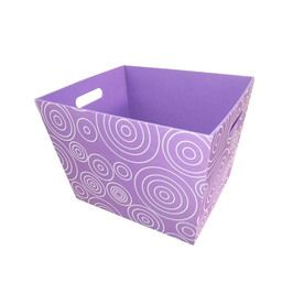 Style Selections 14-in W x 10-in H x 12-in D Purple Circle Print Fabric Bin