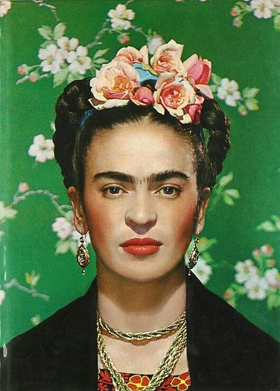 Colourful Frida kahlo Portrait for Vogue Art Print