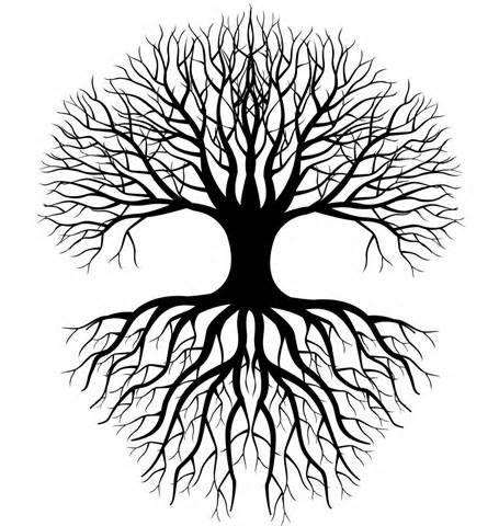 Simple Tree Roots Coloring Coloring Pages Tree Silhouette Tree