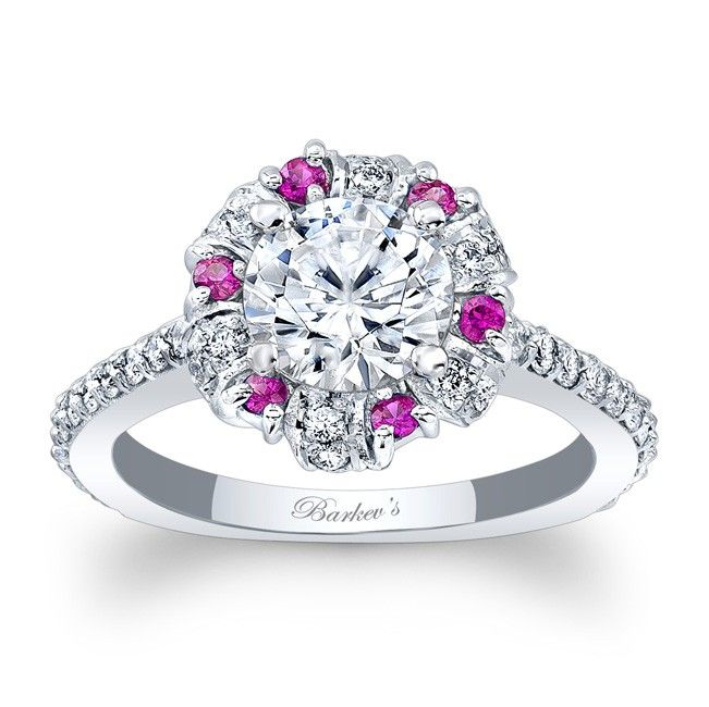 Barkev's Pink Sapphire Halo Engagement Ring 7964LPS