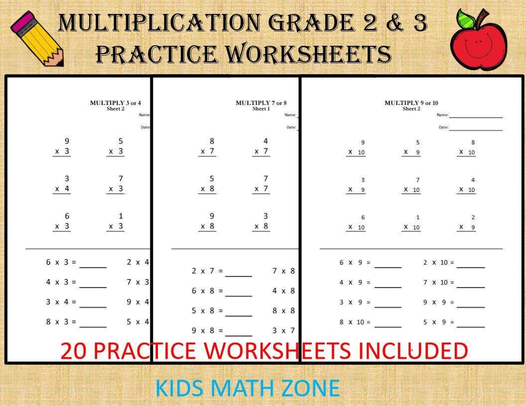 Multiplication worksheets for Grade 2 & 3 20 sheets/ pdf