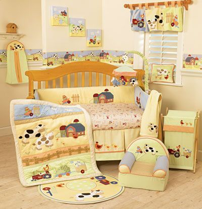 Cute Country Themed Baby Boy Nursery Baby Crib Sets Unisex Baby Room Baby Bedding Sets