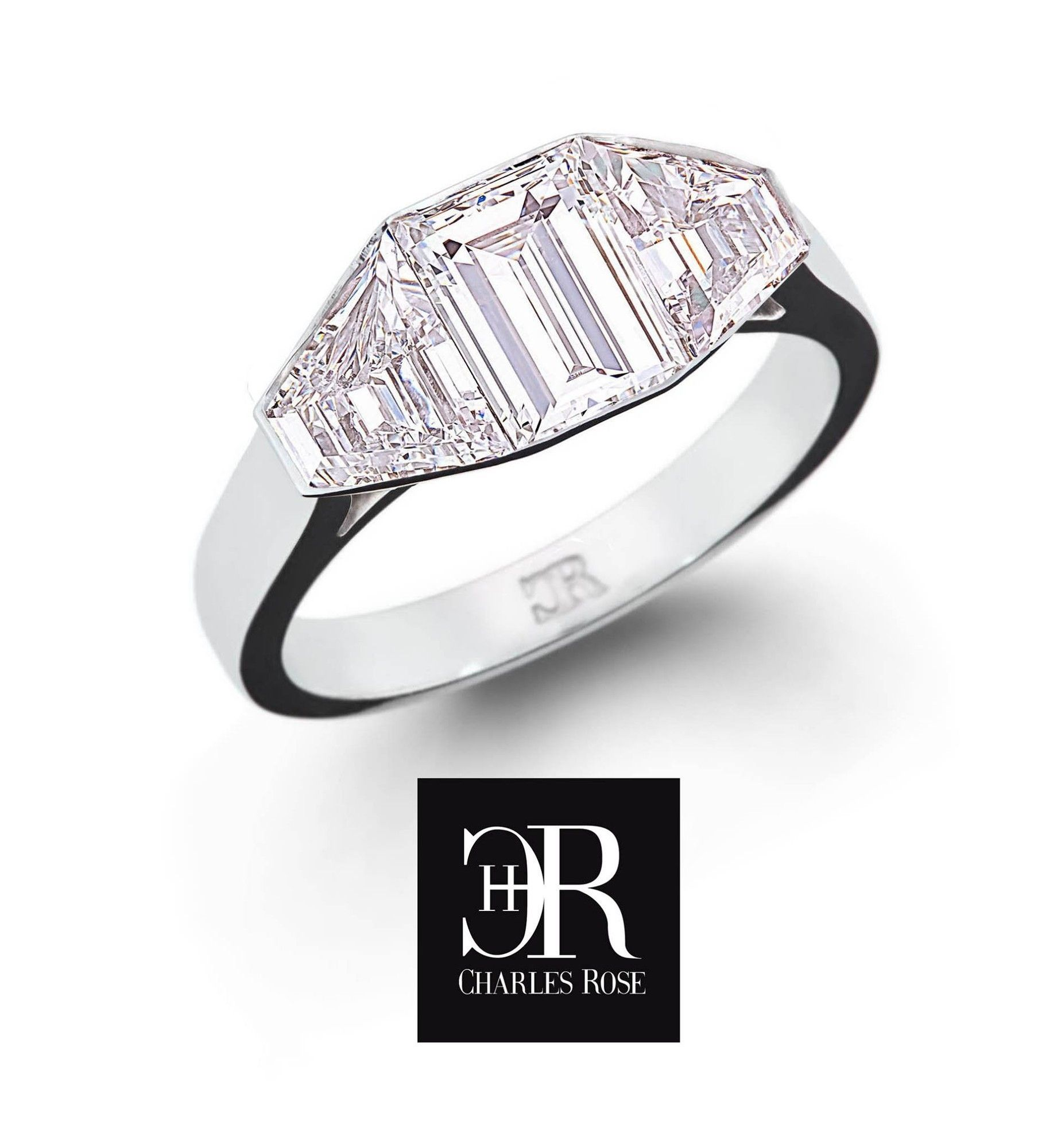 Fancy Trapeze and Emerald cut Cluster. This very fine ring is made to order. Exclusive to Charles Rose, and featuring a matched collection of gems of superior quality. #charlesrosejewellers #charlesrose #emerald #ring #handmade #stunning