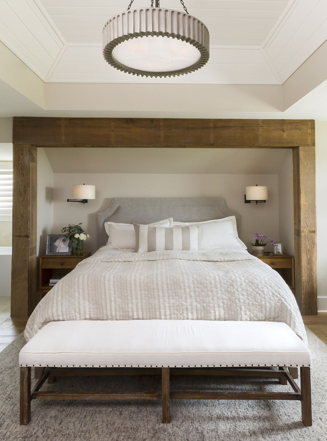 reclaimed wood beams define the recessed bed nook in this rh pinterest com