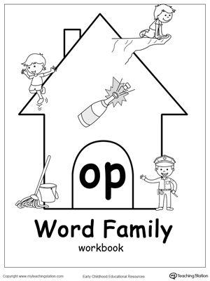 Op Word Family Workbook For Kindergarten Word Families Word Family Activities Word Family Worksheets