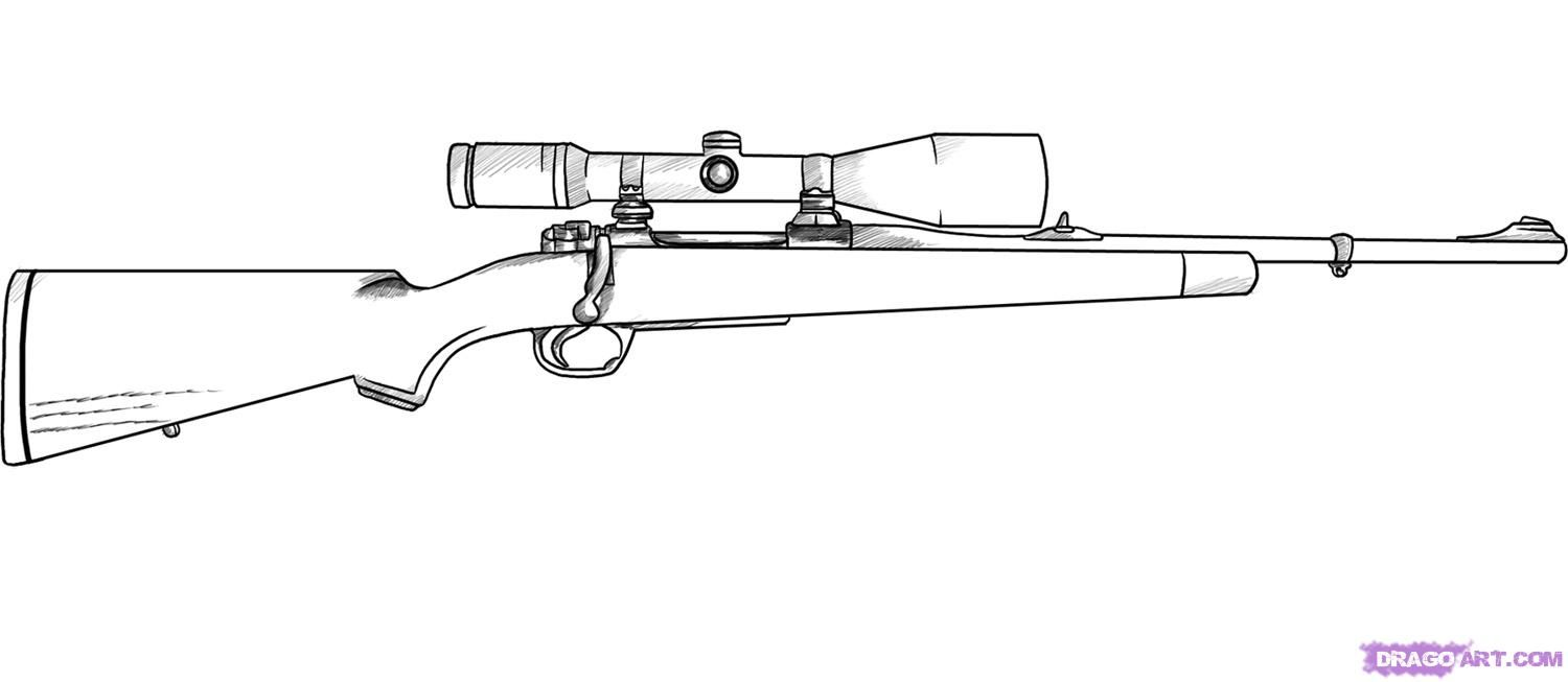 Good drawing of a hunting rifle