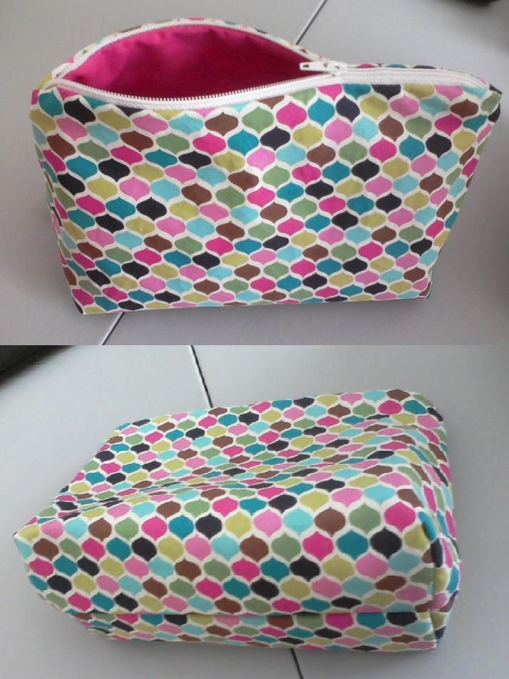 Lined zipper makeup bag with squared corners. Made from a
