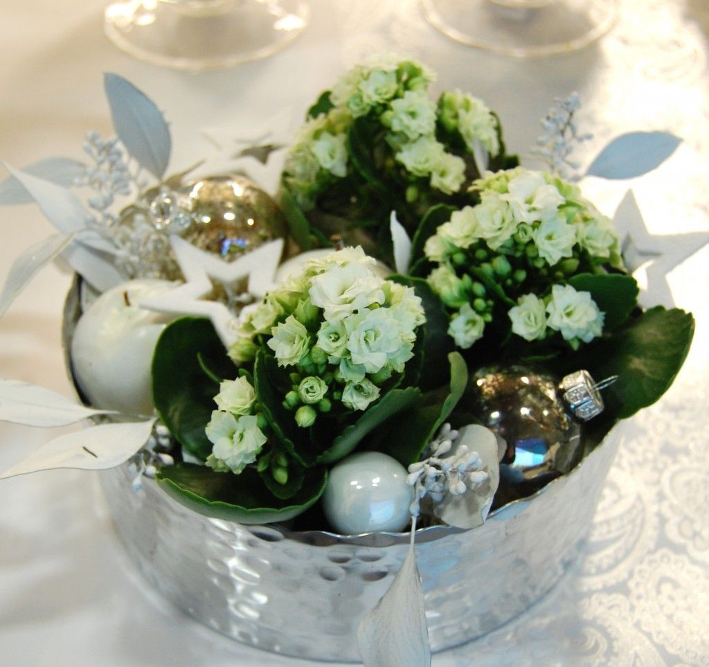 Liten silverskål nyårsdekoration med kalanchoe