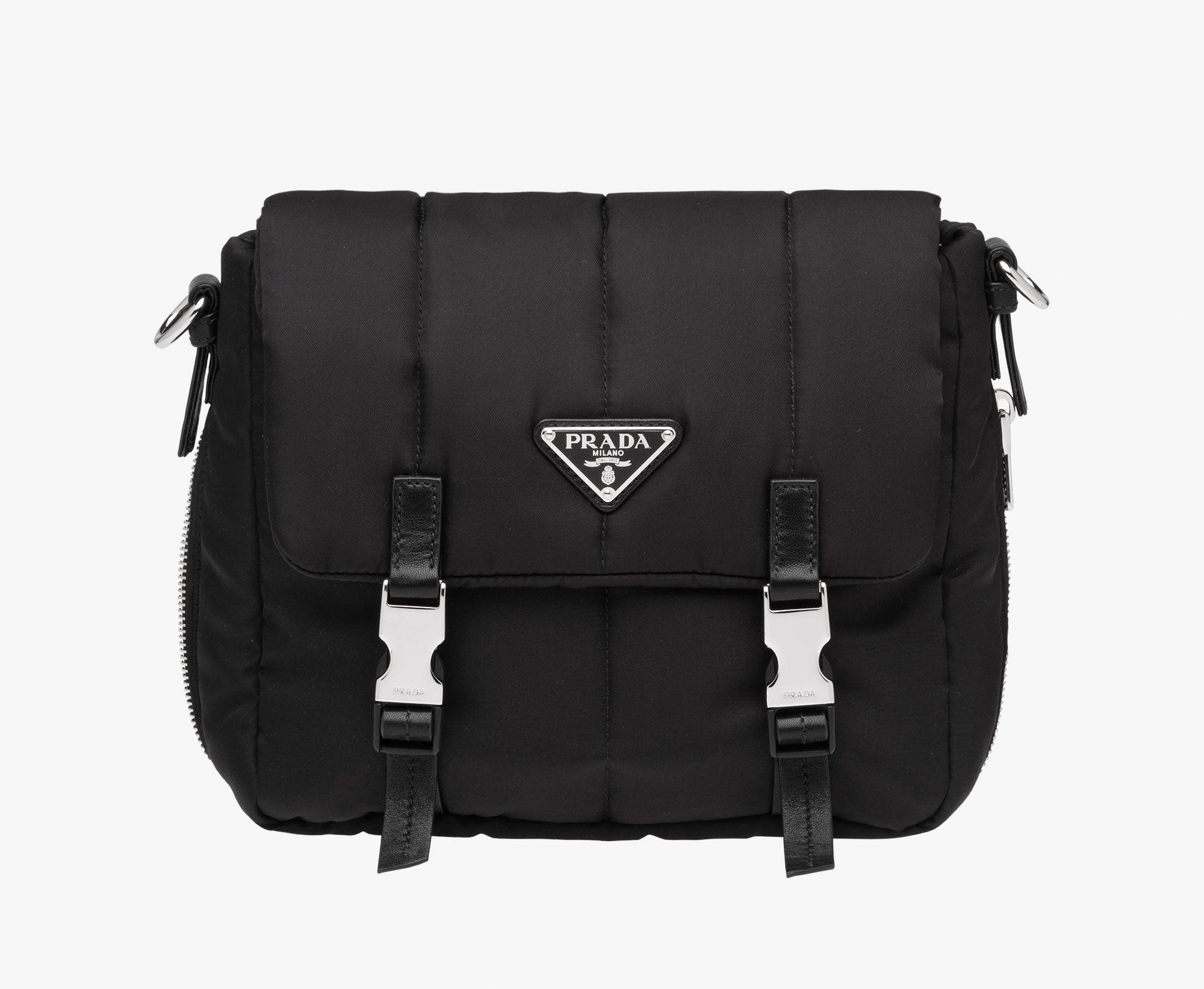 20094156df83 Bomber-effect fabric shoulder bag Detachable adjustable leather shoulder  strap Steel hardware Enamel triangle logo