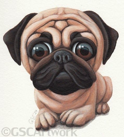 Pug Dog Puppy Pet Animal Cartoon Caricature Acrylic Painting Art