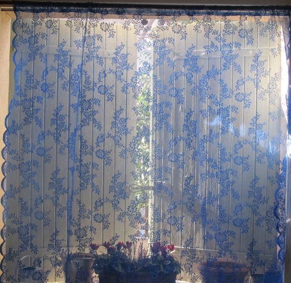 Lilac Blue Lace Curtain Hand Dyed French By Hatchedinfrance
