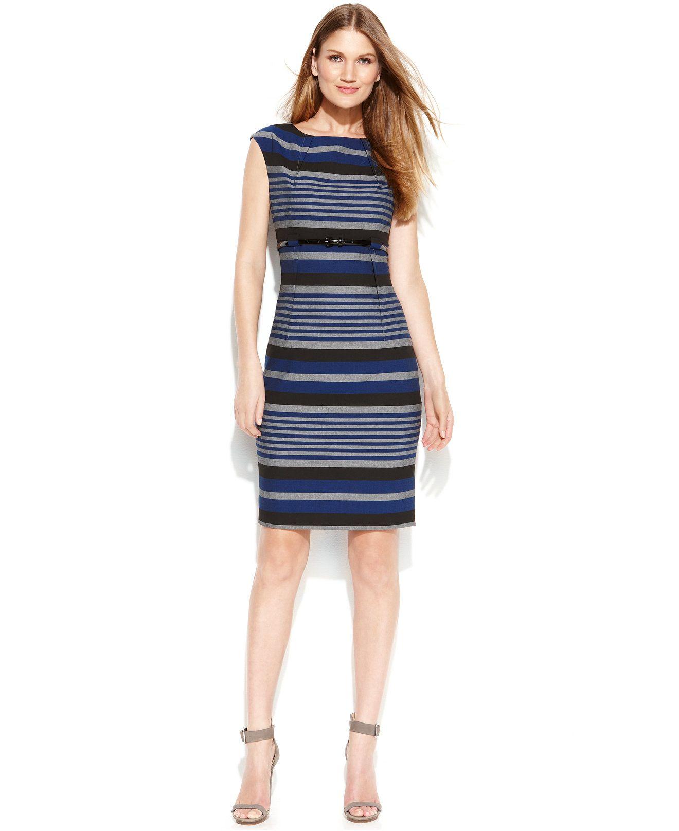 fc1878e4 Calvin Klein Cap-Sleeve Belted Striped Sheath - Dresses - Women - Macy's
