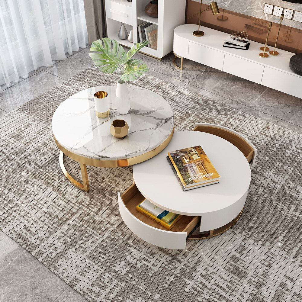 Modern Round Coffee Table With Storage White Faux Marble Nesting Coffee Tab In 2020 Marble Coffee Table Living Room Round Coffee Table Modern Living Room Coffee Table