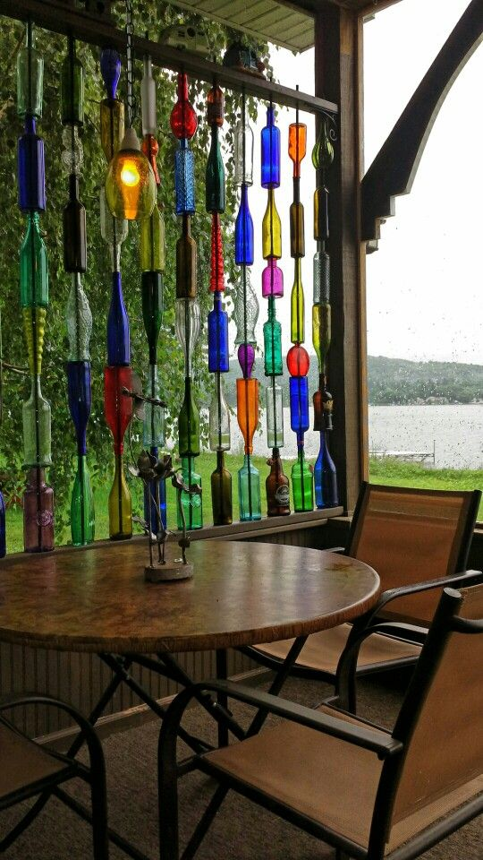 Glass Bottle Wall On The Lake Like Stained Glass Patio Wall Art Wine Bottle Wall Glass Bottle Diy