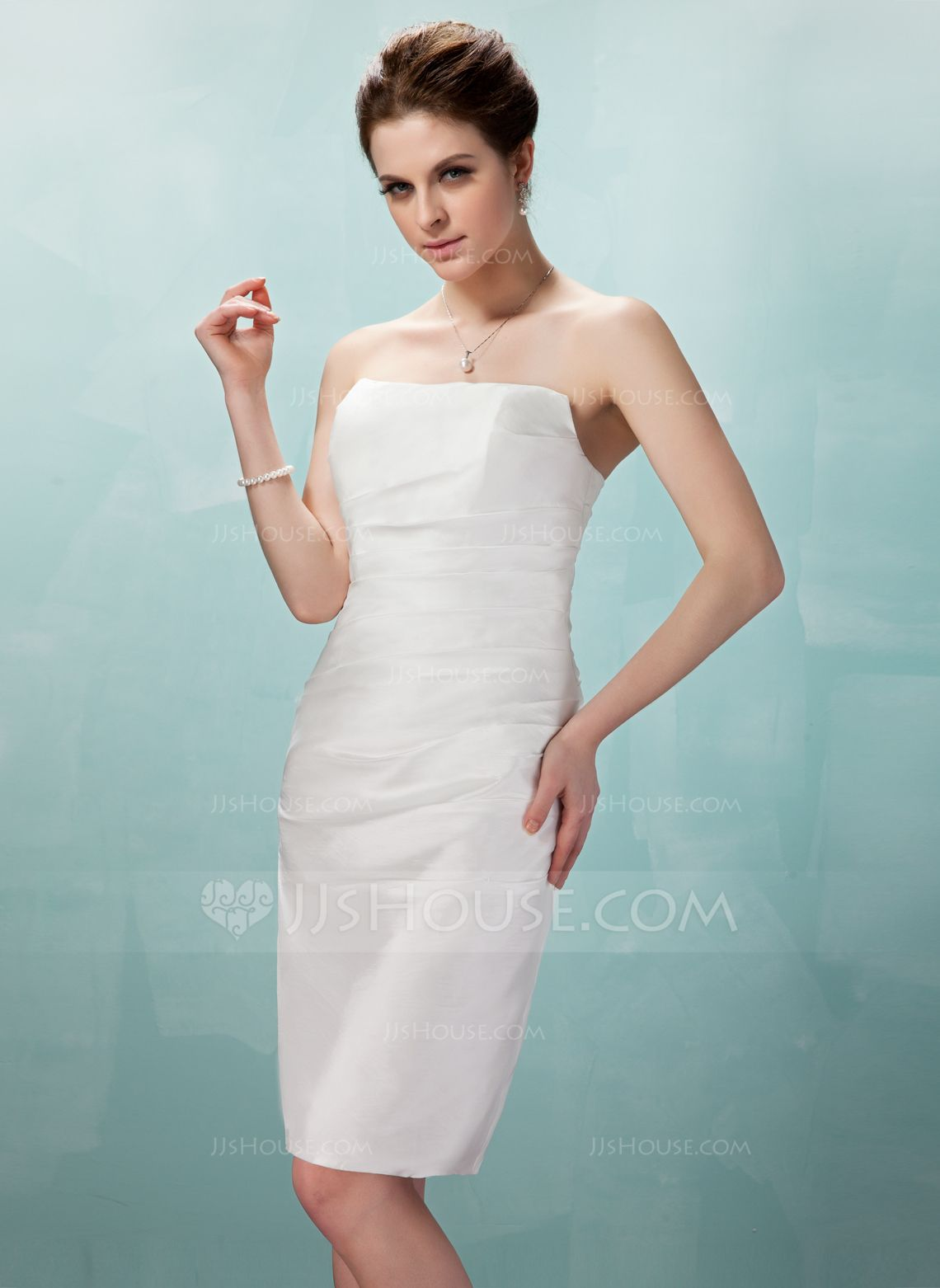 Sheath/Column Strapless Knee-Length Taffeta Wedding Dress With ...