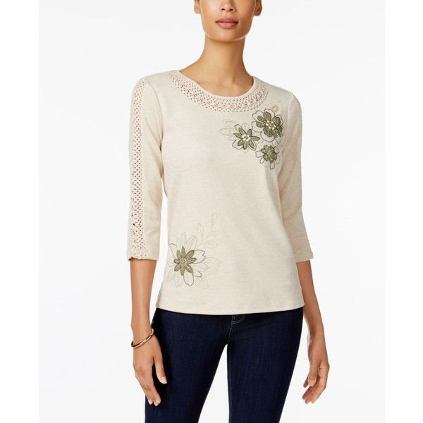 f3127af6110 Alfred Dunner Petite Embellished Crochet-Trim Top ( 56) ❤ liked on Polyvore  featuring