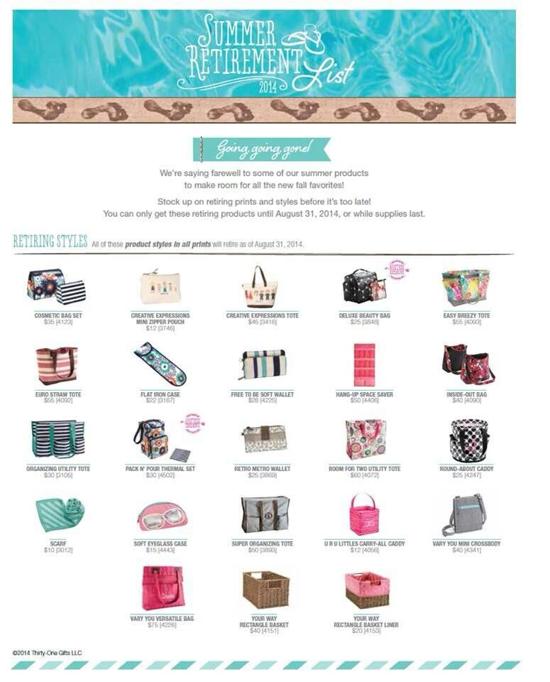 e6f4a2c227e5 Thirty-One Summer retirement list. Get your favorites before they are gone!