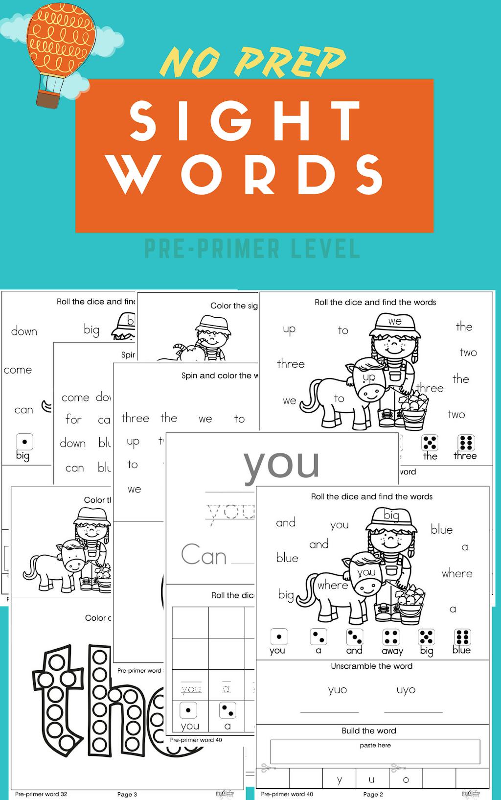 No Prep Sight Words Worksheets Pre Primer