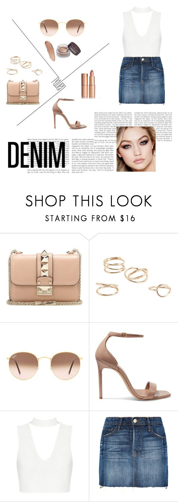 """I love denim!"" by zeynepalioglu ❤ liked on Polyvore featuring Valentino, MANGO, Ray-Ban, Yves Saint Laurent, Frame and Maybelline"