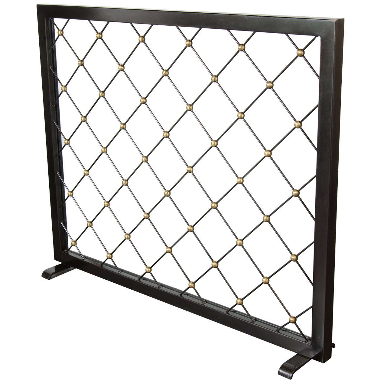 Art Deco Fire Screen With Crosshatch Detailing And Gilt Ball Accents Fireplace Mantel Mantels