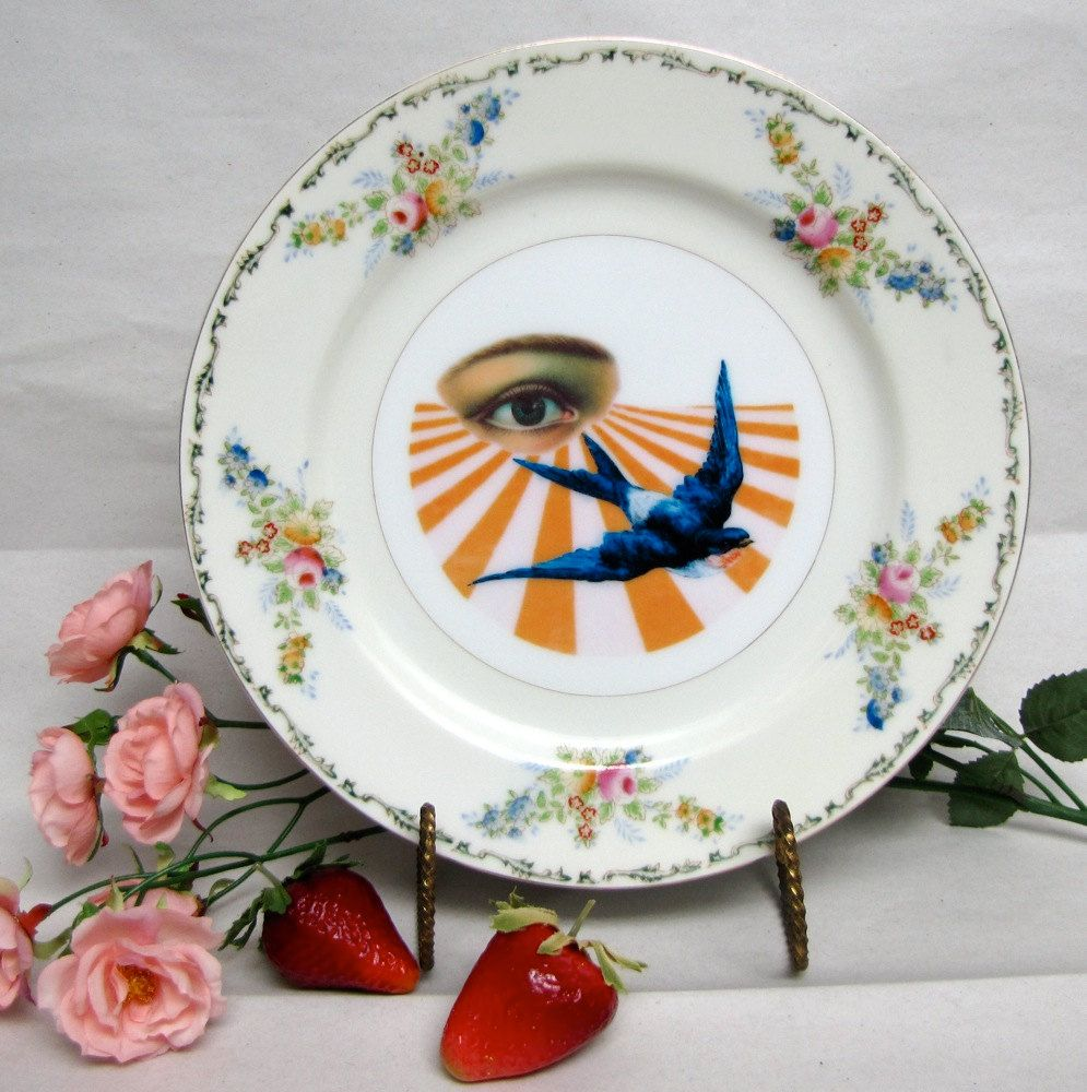 Vintage Wall Plates Eye Swallow Altered Vintage Wall Plate Birds And All Seeing Eye