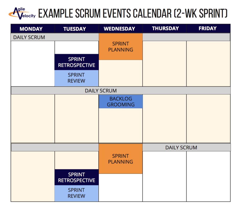 A Sample Scrum Events Calendar Scrum Scrum Master Agile Scrum