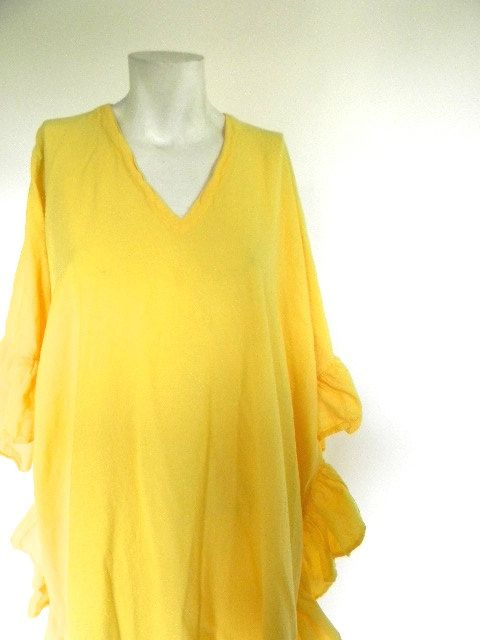 vintage.  Bright Yellow Gauze Cotton Caftan // by styleforlife, $48.25