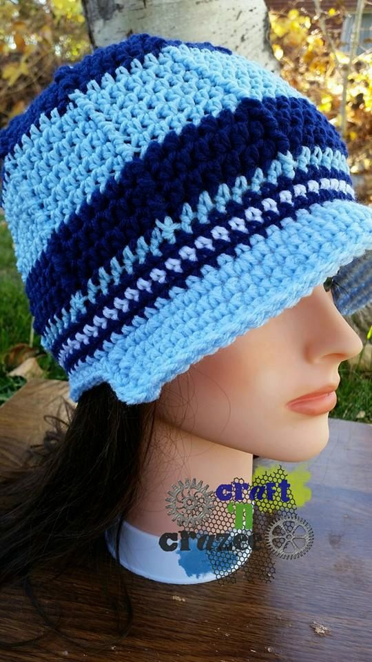 7304c1fc615 A wicked brimmed beanie with the perfect colors! Baby blue and navy stripes  with a