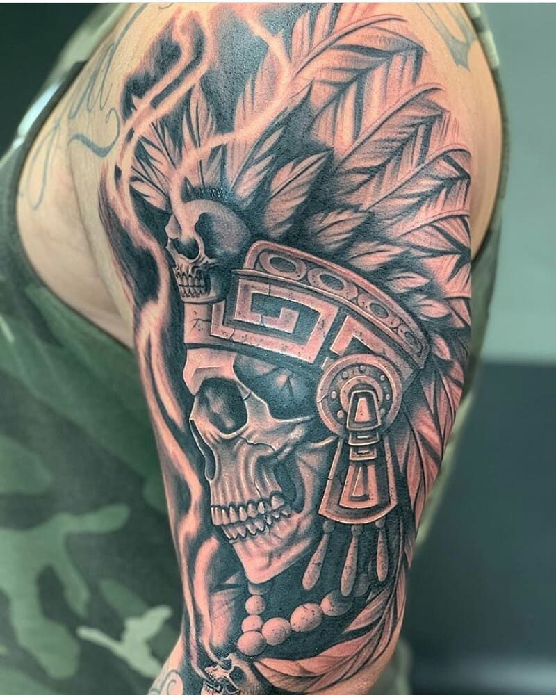 5 964 Likes 24 Comments Mexicanstyle Tattoos On Instagram Aztec Tattoo By Alex Tat2 Vazquez Mex In 2020 Aztec Tattoo Aztec Tattoo Designs Warrior Tattoo Sleeve