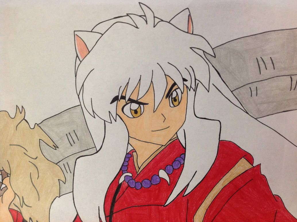 Inuyasha Smiling His Handsome Smile While Posing With His Tetsusaiga