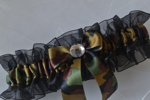 Wedding Garter Camo Garter And Black Sheer by ElegantGarters, $13.95