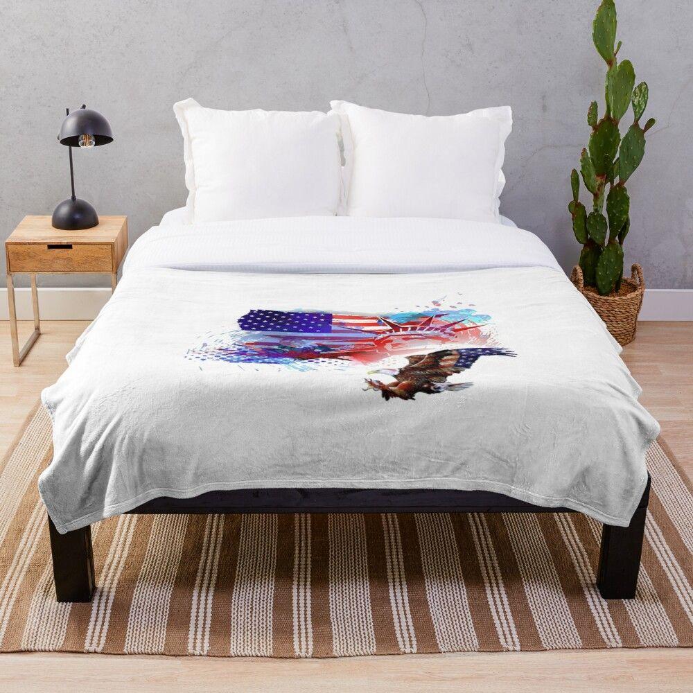 'American Flag American Eagle Statute of Liberty' Throw