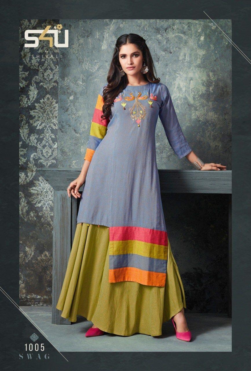 79c3e3ba50 S4u shivali swag vol 3 fancy kurti with fancy bottom collection